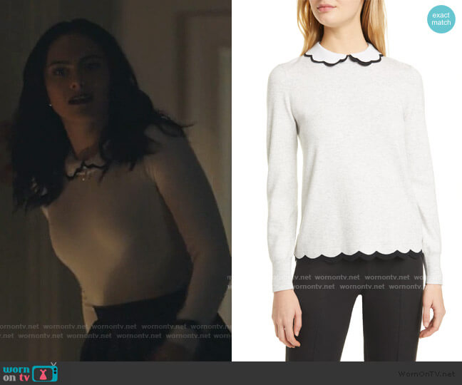 Lheo Scallop Detail Layered Sweater by Ted Baker worn by Veronica Lodge (Camila Mendes) on Riverdale