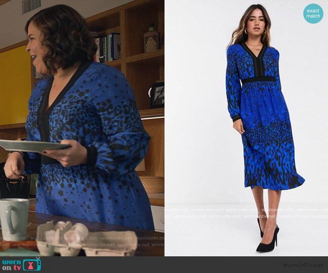 Maryema Topaz Print Leopard Midi Dress by Ted Baker worn by Sara Castillo (Lindsay Mendez) on All Rise
