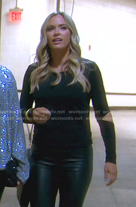 Teddi's black cutout sleeve top on The Real Housewives of Beverly Hills