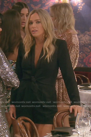 Teddi's black tie waist romper on The Real Housewives of Beverly Hills