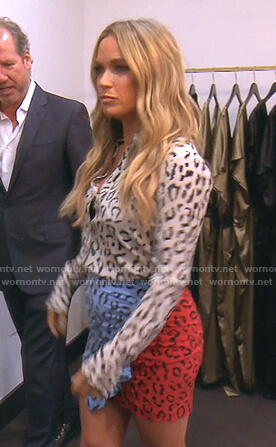 Teddi's white leopard blouse and skirt on The Real Housewives of Beverly Hills