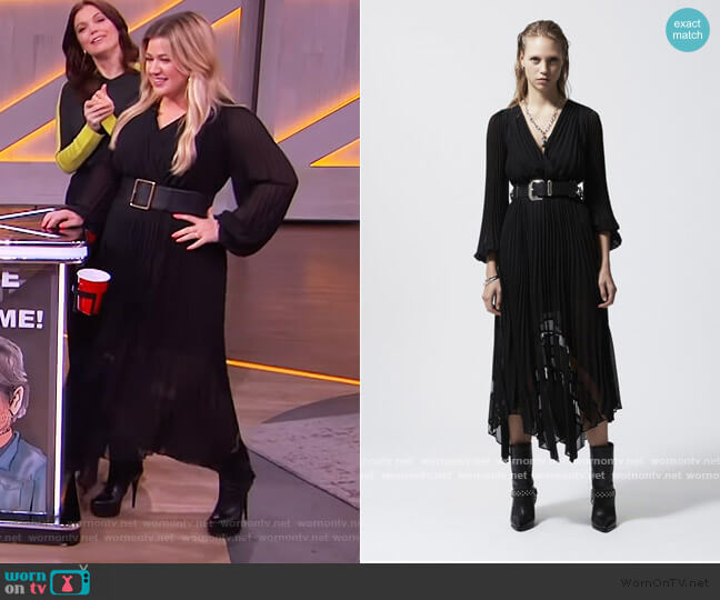 Black Long Flowing Dress with Lace Detail by The Kooples worn by Kelly Clarkson  on The Kelly Clarkson Show
