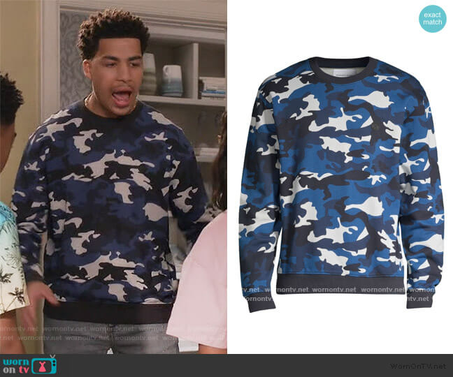 Long-Sleeve Camo Sweatshirt by The Kooples worn by Andre Johnson Jr (Marcus Scribner) on Blackish