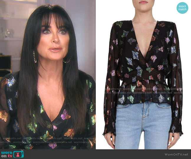 Metallic Butterfly Pattern Blouse by The Kooples worn by Kyle Richards  on The Real Housewives of Beverly Hills