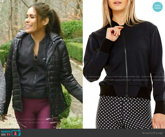 Monica Perforated Bomber Jacket by The Upside worn by Cristal Jennings (Daniella Alonso) on Dynasty