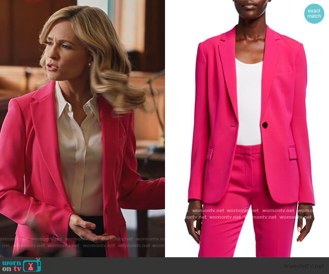Admiral Crepe One-Button Staple Blazer by Theory worn by Amy Quinn (Lindsey Gort) on All Rise