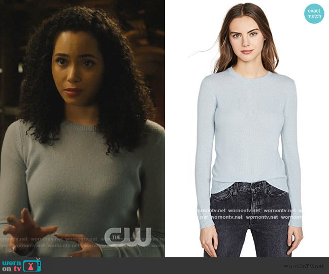 Crew Neck Cashmere Pullover by Theory worn by Macy Vaughn (Madeleine Mantock) on Charmed