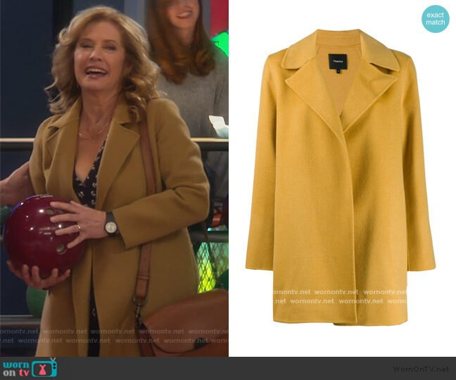 single breasted short coat by Theory worn by Vanessa Baxter (Nancy Travis) on Last Man Standing