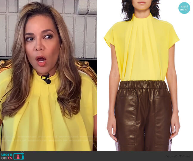 Esme Crepe Shirred High-Neck Top by Tibi worn by Sunny Hostin  on The View