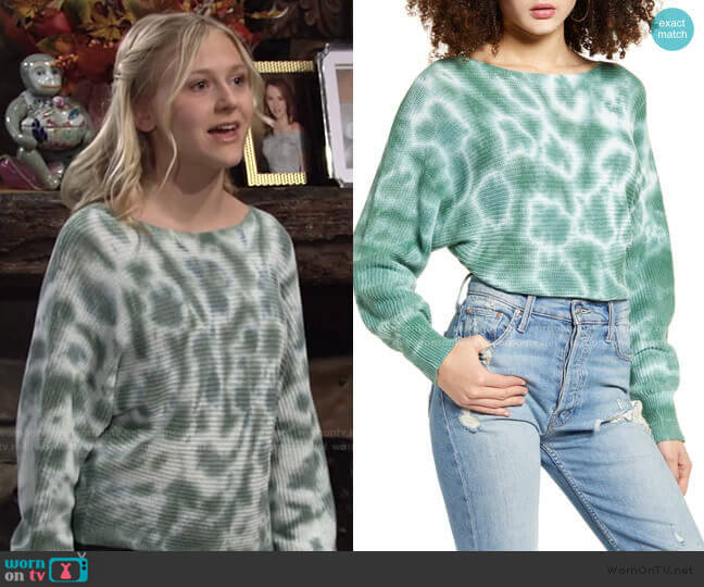 Tie Dye Sweater by BP worn by Faith Newman (Alyvia Alyn Lind) on The Young & the Restless