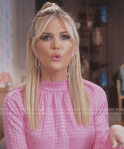 Tinsley's pink houndstooth blouse on The Real Housewives of New York City