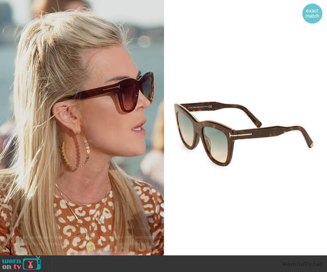 Julie 52MM Square Sunglasses by Tom Ford worn by Tinsley Mortimer  on The Real Housewives of New York City