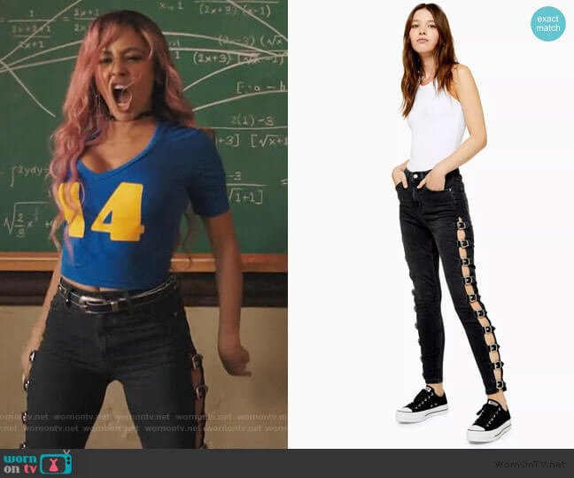 Washed Black Buckle Jamie Jeans by Topshop worn by Toni Topaz (Vanessa Morgan) on Riverdale