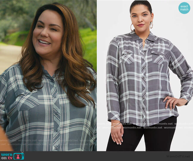 Grey Plaid Button Front Shirt by Torrid worn by Katie Otto (Katy Mixon) on American Housewife