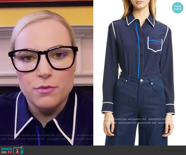 Contrast Binding Silk Shirt by Tory Burch worn by Meghan McCain  on The View
