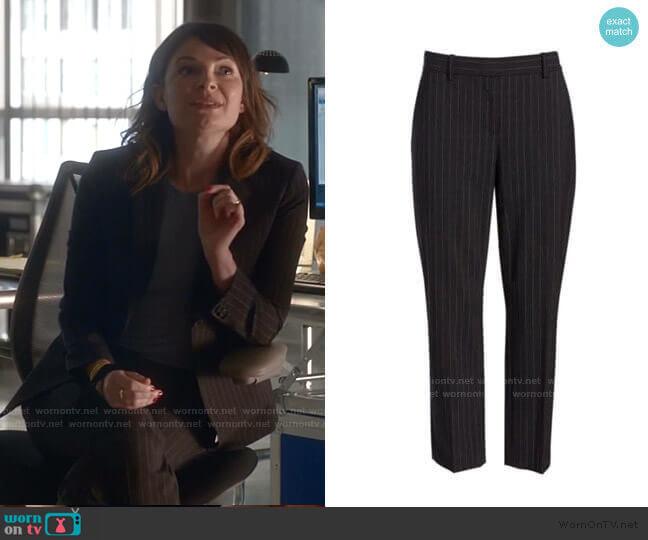 Theory Treeca Pinstripe Pants worn by Taylor Rentzel (MacKenzie Meehan) on Bull