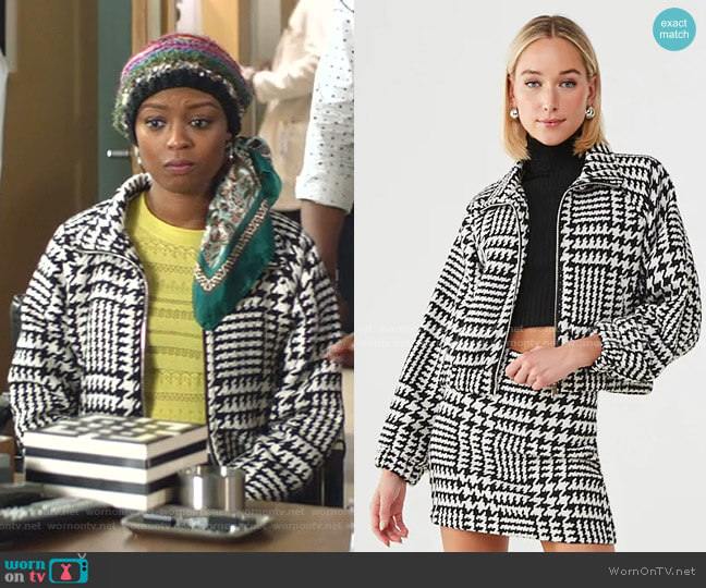 Twill Houndstooth Jacket by Forever 21 worn by Ali Finer (Javicia Leslie) on God Friended Me