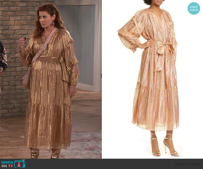 Talitha Maxi Dress by Ulla Johnson worn by Grace Adler (Debra Messing) on Will & Grace