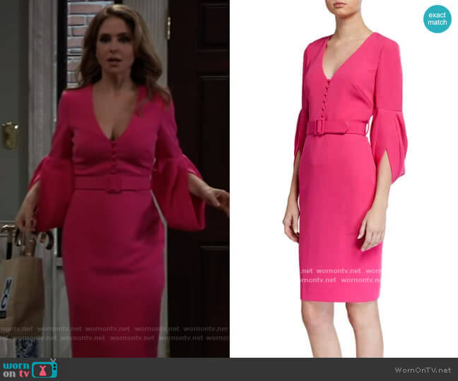 V-Neck Tulip-Sleeve Belted Sheath Dress by Badgley Mischka worn by Olivia Falconeri (Lisa Lo Cicero) on General Hospital