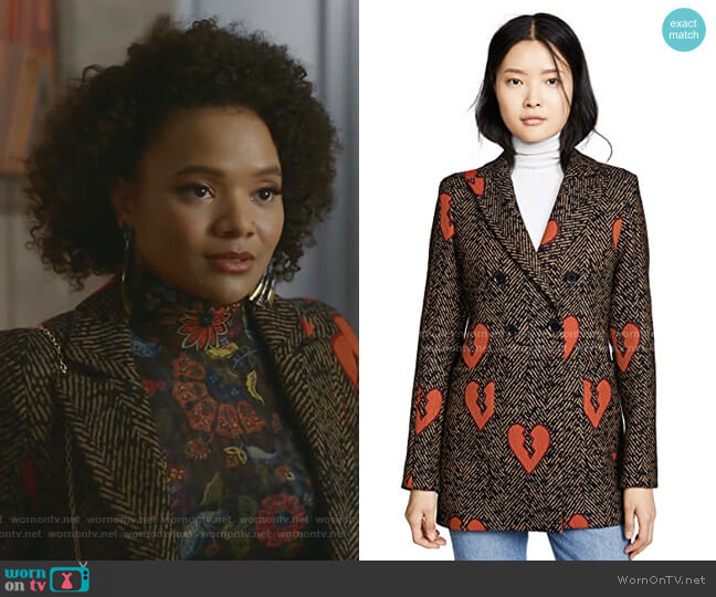Martina Blazer by Valentina Shah worn by Vanessa (Jade Payton) on Dynasty