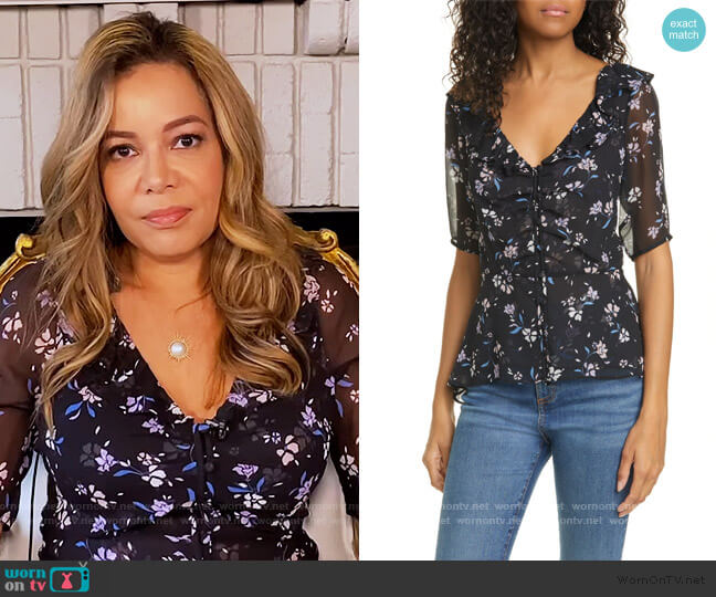 Ayia Silk Chiffon Blouse by Veronica Beard worn by Sunny Hostin  on The View
