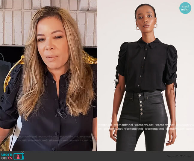 Carmine Ruched Sleeve Blouse by Veronica Beard worn by Sunny Hostin  on The View