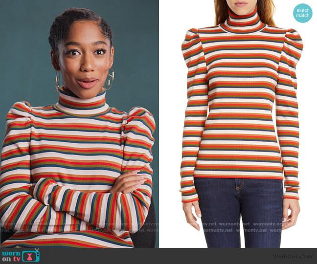 Cedar Stripe Puff Sleeve Turtleneck Top by Veronica Beard worn by Drea Barris (Iman Benson) on BlackAF