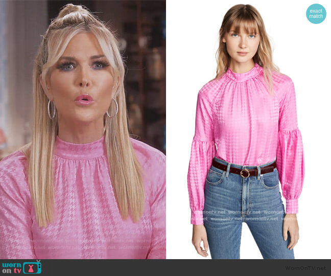 Cicely Houndstooth Jacquard Silk Blouse by Veronica Beard worn by Tinsley Mortimer  on The Real Housewives of New York City