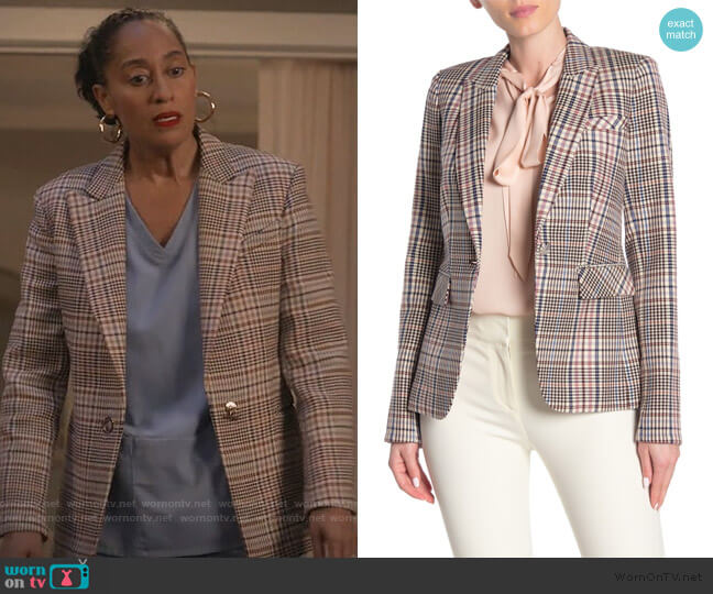 Houndstooth Jacket by Veronica Beard worn by Rainbow Johnson (Tracee Ellis Ross) on Blackish