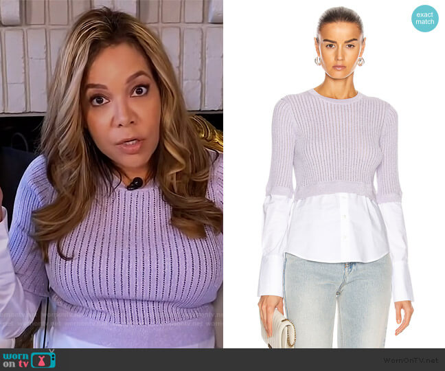 Kayley Mixed Media Sweater by Veronica Beard worn by Sunny Hostin  on The View