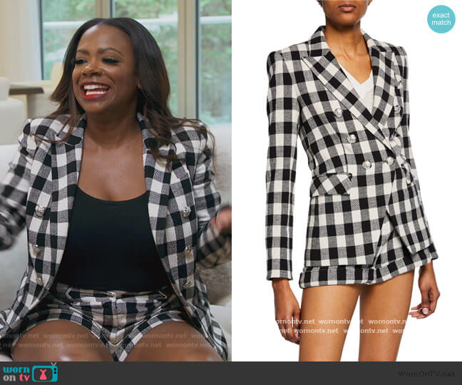 Miller Dickey Checker Jacket  and Shorts by Veronica Beard worn by Kandi Burruss  on The Real Housewives of Atlanta