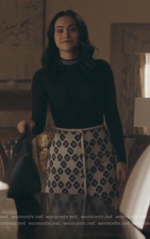 Veronica's white floral tweed skirt on Riverdale