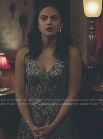 Veronica's metallic paisley mini dress on Riverdale