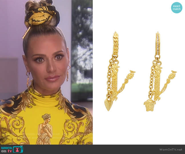 V Leaves Earrings by Versace worn by Dorit Kemsley  on The Real Housewives of Beverly Hills