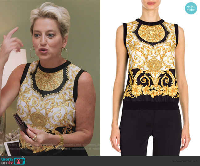 Hibiscus Print Silk Top by Versace worn by Dorinda Medley  on The Real Housewives of New York City