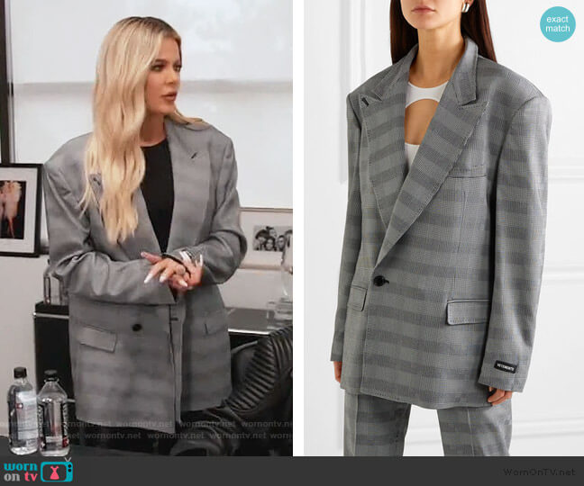Oversized Prince of Wales Blazer by Vetemens worn by Khloe Kardashian  on Keeping Up with the Kardashians