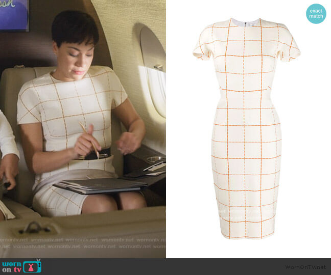 Checked Midi Dress by Victoria Beckham worn by Lucca Quinn (Cush Jumbo) on The Good Fight