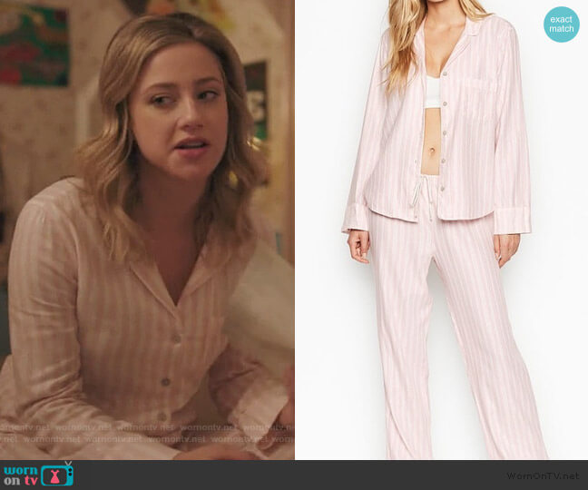 Pink Metallic Stripe Pajamas by Victoria Secret worn by Betty Cooper (Lili Reinhart) on Riverdale