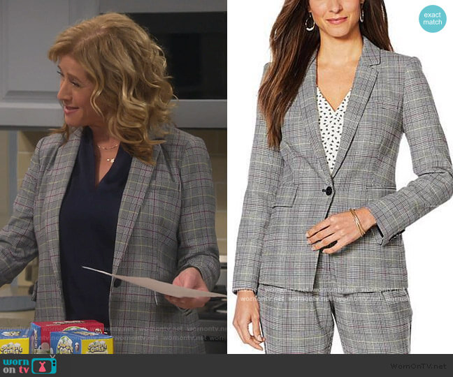 Colorful Glen Plaid Blazer by Vince Camuto worn by Vanessa Baxter (Nancy Travis) on Last Man Standing