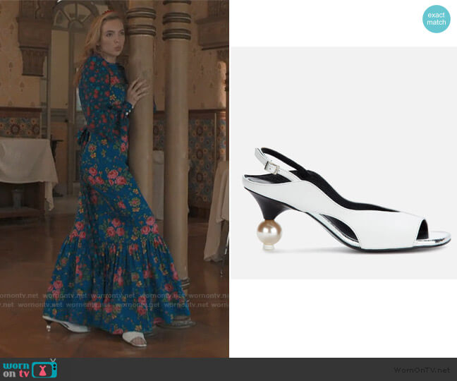 Vera Sling Back Heeled Sandals by Yuul Yie worn by Villanelle (Jodie Comer) on Killing Eve