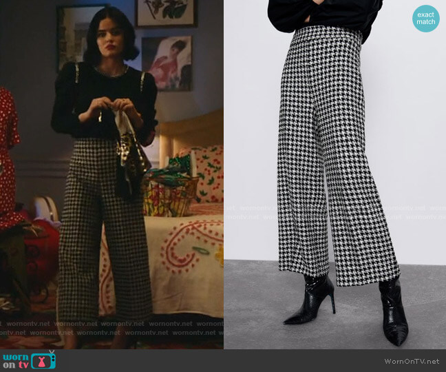 Houndstooth Pants by Zara worn by Katy Keene (Lucy Hale) on Katy Keene