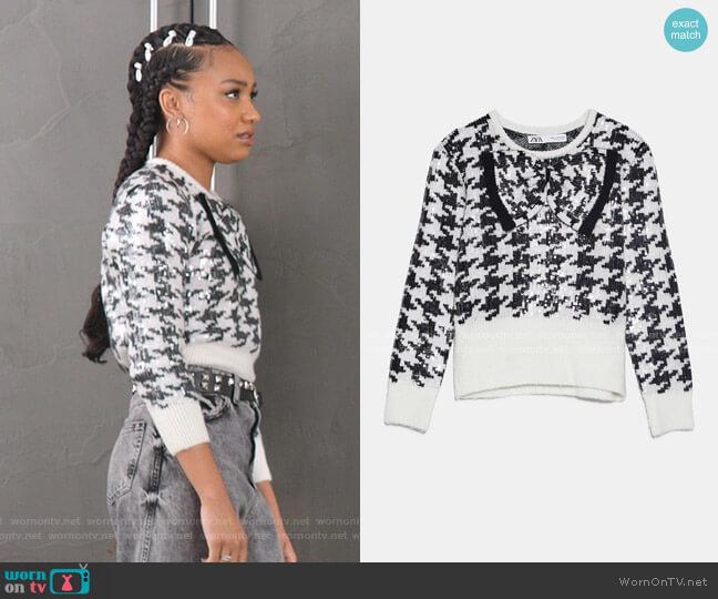 Houndstooth Sequin Sweater by Zara worn by Chloe Barris (Genneya Walton) on BlackAF