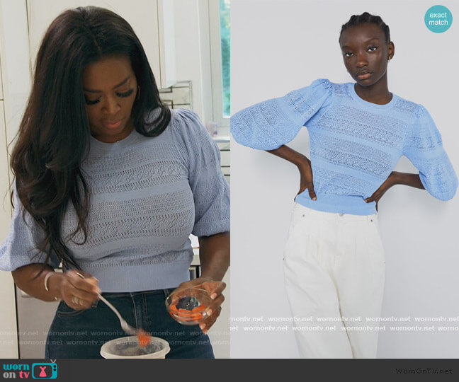 Pointelle Sweater with Puff Sleeves by Zara worn by Kenya Moore  on The Real Housewives of Atlanta
