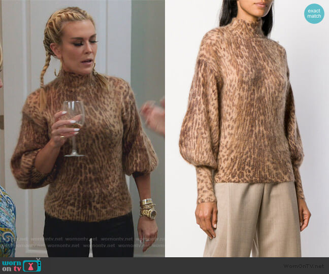 Leopard Print Sweater by Zimmermann worn by Tinsley Mortimer  on The Real Housewives of New York City
