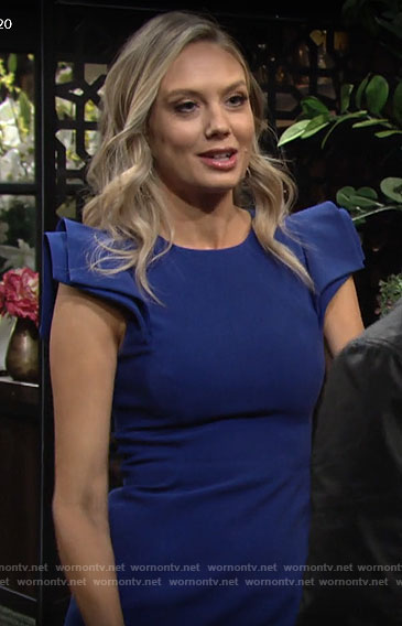 Abby's blue cap sleeve dress on The Young and the Restless