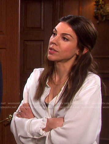 Abigail's white contrast stitch blouse on Days of our Lives