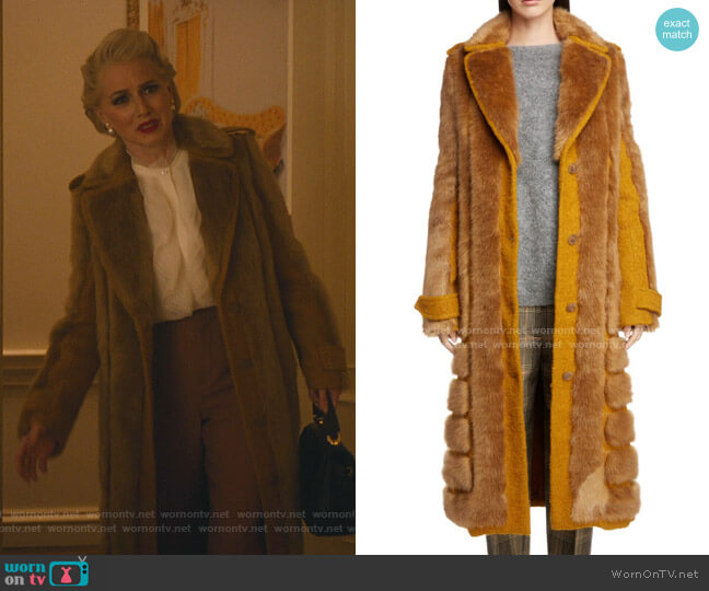 Faux Fur Trim Coat by Acne Studios worn by  Gloria Grandbilt (Katherine LaNasa) on Katy Keene