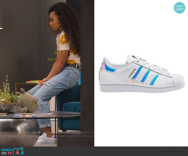 Superstar Sneakers in Iridescent by Adidas worn by Chloe Barris (Genneya Walton) on BlackAF