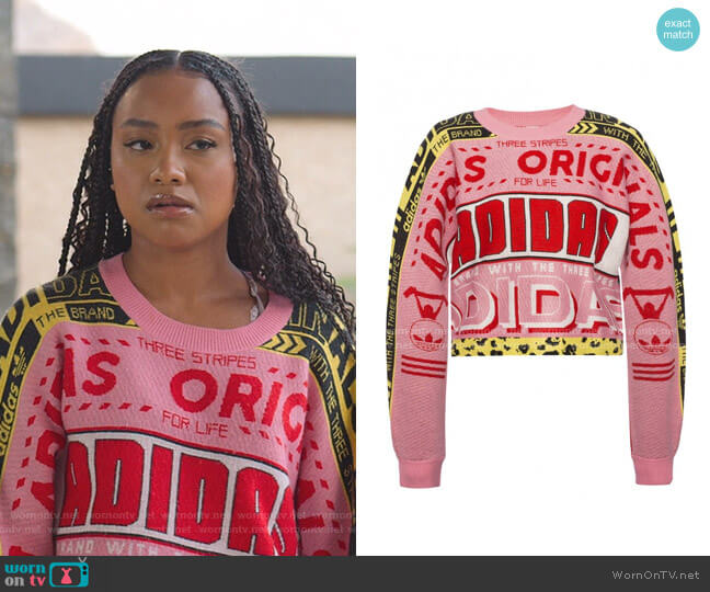Logo Intarsia Cropped Jumper by Adidas worn by Chloe Barris (Genneya Walton) on BlackAF