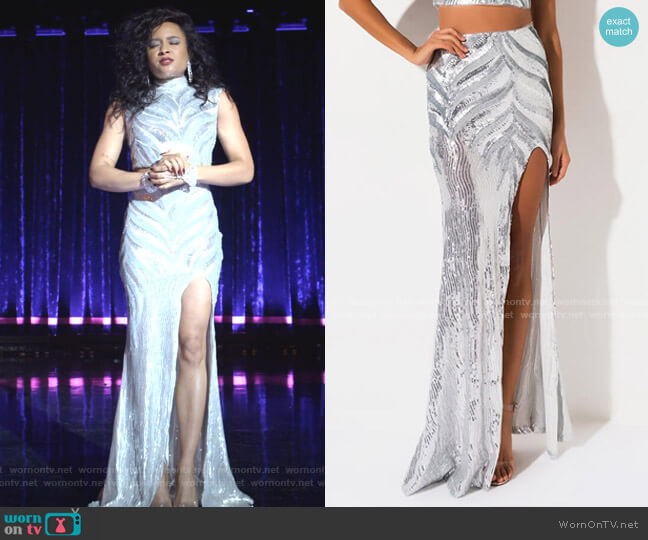 Drama Queen Sequin Maxi Skirt by Akira Label worn by Rhyon Nicole Brown on Empire